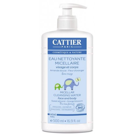 Agua limpiadora micelar bebé 500ml. Cattier