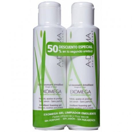 Exomega Gel Limpiador Emoliente 500+500ml. A-Derma